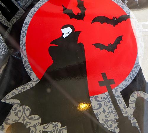 Drawing of Dracula and bats