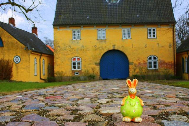 Ceramic duck outside house